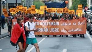 Un momento de la manifestación del pasado sábado contra el cierre de las «herriko tabernas»
