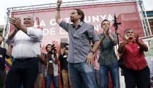 Pablo Iglesias durante unos de los mítines en Cataluña