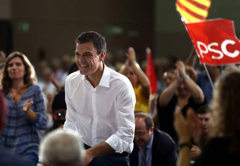 El líder socialista, Pedro Sánchez, durante su último mitin en Cataluña