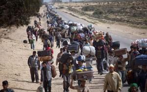 Foto de archivo de un grupo de refugiados.