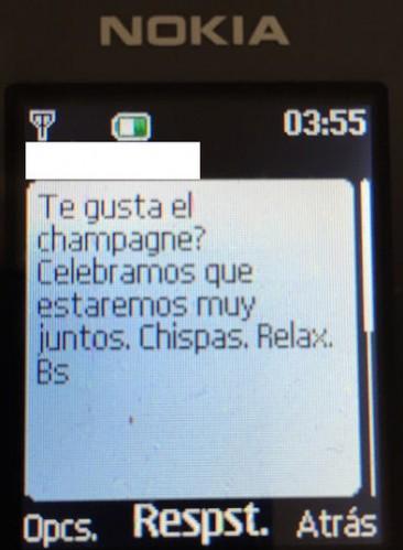 Imagen de uno de los supuestos sms que mandó Baltar a la denunciante
