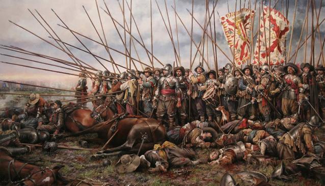 Cuadro de la batalla de San Quintín, entablada en el marco de las Guerras italianas entre las tropas españolas y el ejército francés, que tuvo lugar el 10 de agosto de 1557, con victoria decisiva para el reino de España.