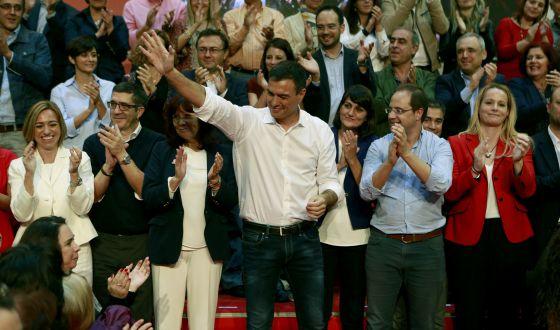 Pedro Sanchez, secretario general del PSOE, en el acto de presentación de candidatos al Congreso de su partido
