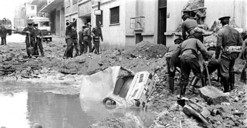 Imagen del atentado contra Carrero Blanco, en 1973.