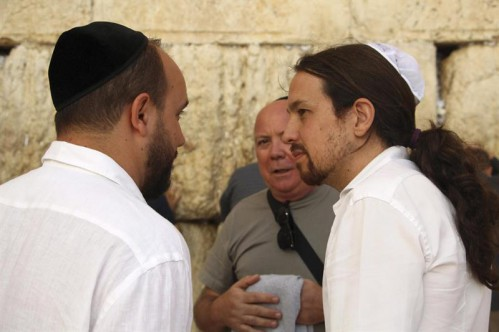 Pablo Iglesias, con kipá judía delante del muro de las Lamentaciones