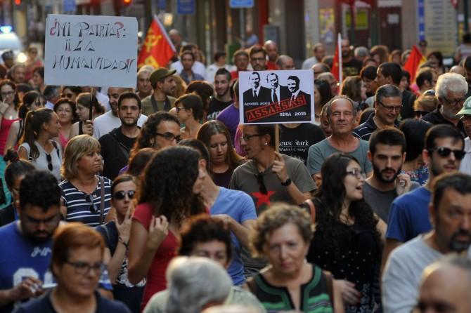 Manifestación a favor de los refugiados sirios