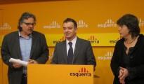 Diputados de ERC durante una rueda de prensa en la que solicitaban acceso a la Comisión de Secretos Oficiales en 2012.