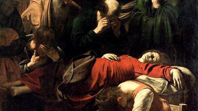 La muerte de María, según el pintor Caravaggio. En primer plano, el llanto de María Magdalena.