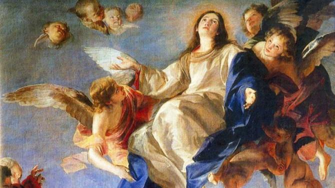 Imagen que representa la Ascensión de María al cielo, en cuerpo y alma, tal como lo establece el dogma.