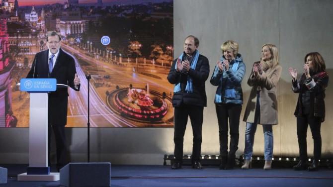 Rajoy, durante el acto de inicio de la campaña electoral en Madrid.