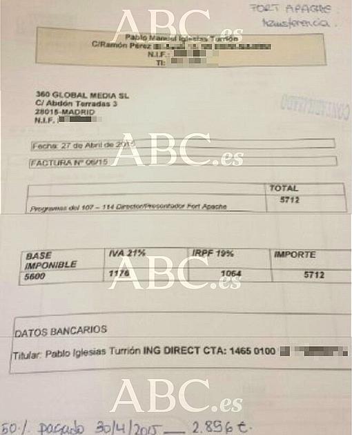 Documento publicado en ABC sobre los pagos a Iglesias