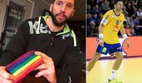Tobias Karlsson, con el brazalete en cuestión y en juego con la selección sueca