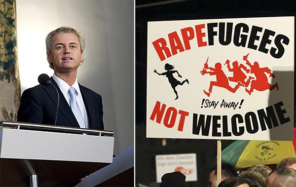 """Geert Wilders: """"Taharrush es la palabra árabe para el fenómeno por el que las mujeres son rodeadas por grupos de hombres que las acosan sexualmente, asaltan, violan. Una cultura que tiene una palabra específica para eso es un peligro para todas las mujeres"""". A la derecha: este mes ha habido manifestaciones en Alemania en repulsa por los asaltos sexuales registrados en Nochevieja en Colonia y otras ciudades del país."""