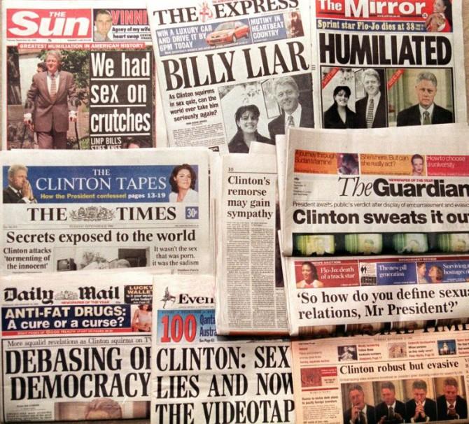 Las portadas de la prensa británica del 22 de septiembre de 1998, después de la publicación de un comunicado del Congreso de EEUU tras más de cuatro horas de testimonio del presidente Bill Clinton