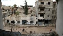Un edificio destrozado en Arbeen, zona controlada por los rebeldes, en las afueras de Damasco, el 8 de enero de 2016
