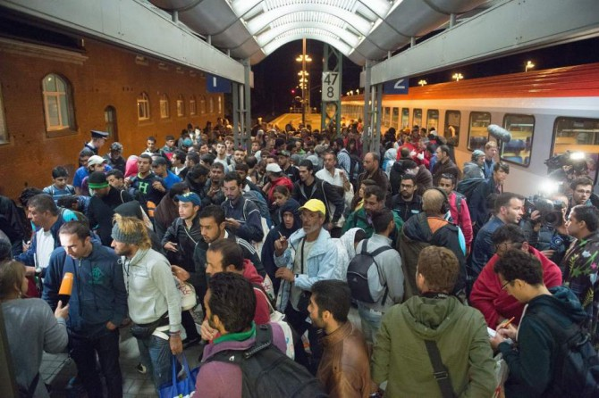 Refugiados sirios a su llegada a Saalfeld, en Alemania.