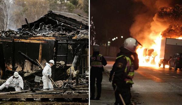 A la izquierda, los restos calcinados de un hogar para demandantes de asilo en Munkedal, Suecia, luego de que fuera incendiado el mes pasado. A la derecha, disturbios en un suburbio de Estocolmo en diciembre de 2014.