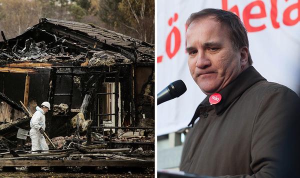 A la izquierda, las ruinas de un centro de asilados en Munkedal, Suecia, después de que fuera incendiado, en octubre de 2015. A la derecha, el primer ministro sueco, Stefan Löfven.