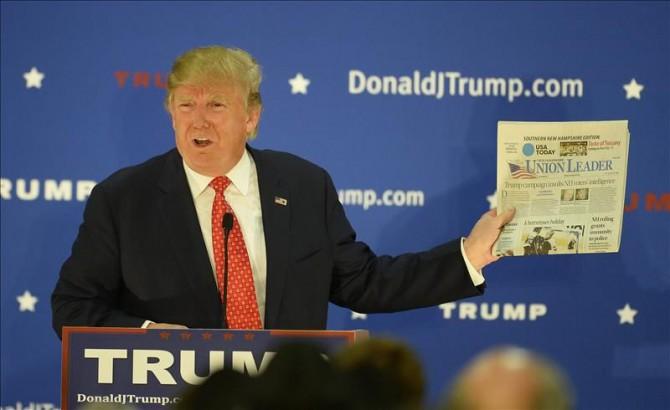 El precandidato presidencial estadounidense por el partido Republicano Donald Trump pronuncia un discurso durante su campaña en Nashua, New Hampshire (EE.UU.).