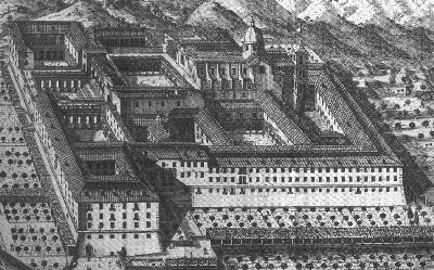 Grabado de la Abadía antes de la destrucción por parte de los anglosajones