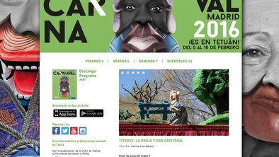 Anuncio del espectáculo de Títeres desde Abajo en la web municipal del Carnaval de Madrid.