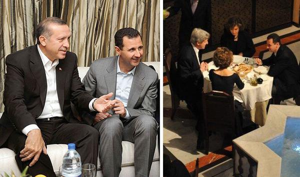 No mucho antes de que estallara la guerra en Siria, Bashar al Asad era saludado como un reformista a invitado a Occidente en visitas de Estado de alto nivel. Arriba, Bashar Asad se relaja con el entonces primer ministro (hoy presidente) turco Recep Tayyip Erdogan (izquierda) y con el entonces senador John Kerry (derecha).