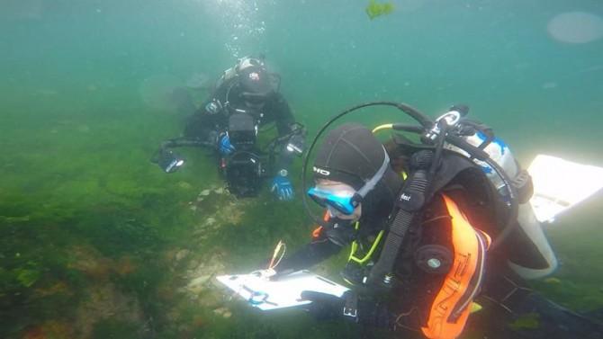 Fotografía cedida este sábado por el Instituto Nacional de Arqueología y Pensamiento Latinoamericano, en la que se registró a un arqueólogo realizando un dibujo bajo el agua de las costas patagónicas de Argentina.