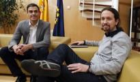 El líder del PSOE, Pedro Sánchez, e Iglesias durante su reunión del pasado 5 de febrero.