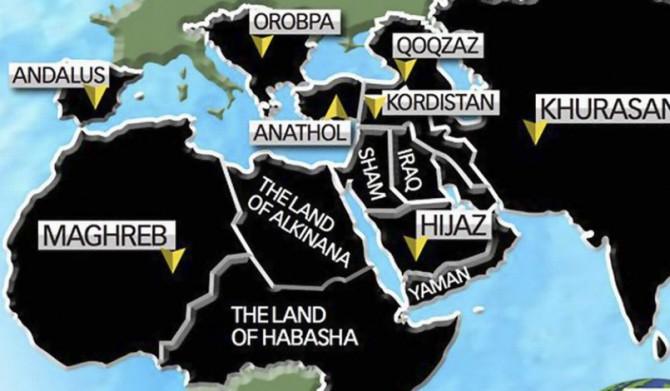 Mapa con los planes de DAESH para dominar diferentes territorios, entre los que aparece España como Andalus
