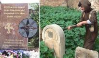 Izquierda: memorial francés conmemorativo del genocidio asirio perpetrado en Turquía en 1915. Derecha: un miembro del Estado Islámico destruye una tumba cristiana en Mosul, Irak, en abril de 2015.