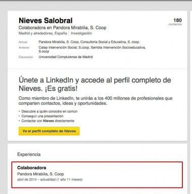 Perfil de Nieves Salobral en LinkedIn.