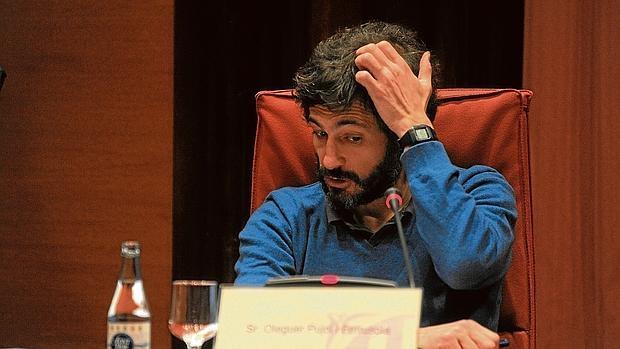 Oleguer Pujol, durante su comparecencia en la comisión de investigación del «Parlament», en marzo de 2015