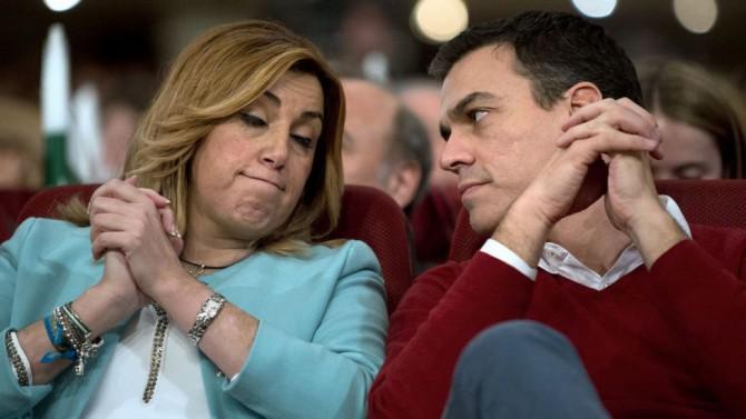 Susana Díaz y Pedro Sánchez el pasado septiembre en Ferraz con el resto de los barones