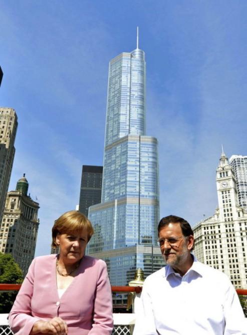 Reunión en Chicago de Angela Merkel y Mariano Rajoy en 2012.