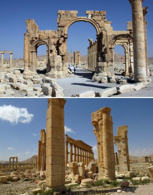 Estas dos imágenes muestran el Arco del Triunfo de Palmira en el 2010 (arriba) y tras el paso de Estado Islámico en la actualidad