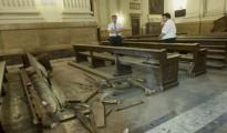 Destrozos causados en la Catedral de la Almudena