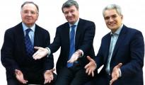 """El secretario general de """"Manos Limpias"""" Miguel Bernad, a la izquierda, junto a López-Diéguez y Ruiz Puerta, durante la presentación de su proyecto político en común."""