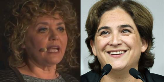 La 'poetisa' Dolors Miquel y la alcaldesa Ada Colau.