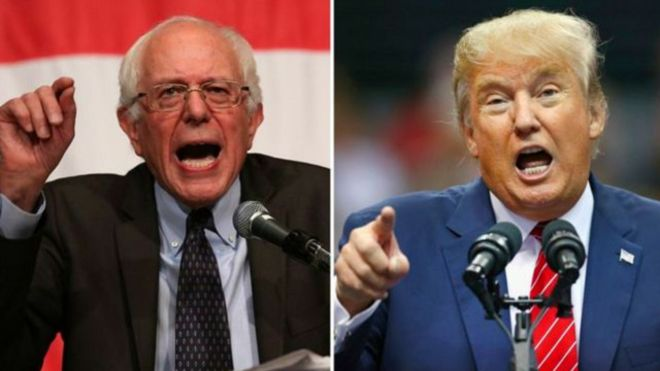 Bernie Sanders y Donald Trump fueron los triunfadores de la noche de primarias.