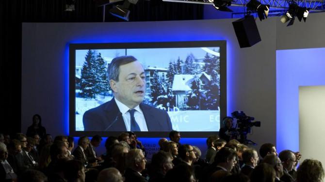 El presidente del Banco Central Europeo (BCE), Mario Draghi durante el Foro Económico Mundial en Davos el pasado 22 de enero.