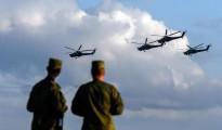 Vista de helicópteros MI-28 del equipo acrobático Berkuti (Águilas Doradas) en acción durante el foro internacional militar-tecnológico ARMY 2015.