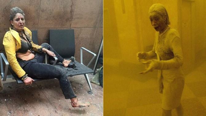 22 de marzo de 2016: Nidhi Chaphekar, cubierta de polvo tras un ataque terrorista en Bruselas | 11 de septiembre de 2001: Marcy Borders, cubierta de polvo tras un ataque terrorista en Nueva York