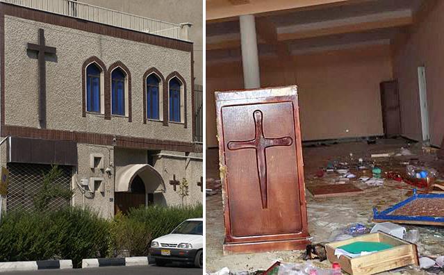 Izquierda: La iglesia armenia de las Asambleas de Dios en Teherán, Irán. El templo fue ilegalmente confiscado hace dos años por el régimen , que ahora pretende convertirlo en una mezquita. Derecha: el 7 de enero unos vándalos dañaron, saquearon y pintaron eslóganes yihadistas en la Iglesia de la Luz de Tzi-Ouzou, Argelia.