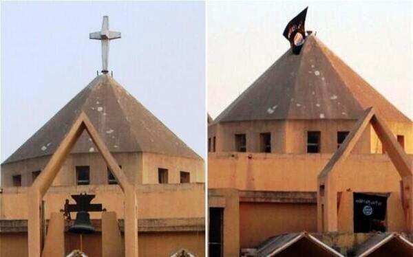 La iglesia ortodoxa siria de San Efrén, en Mosul, Irak, antes y después de ser tomada por el Estado Islámico.