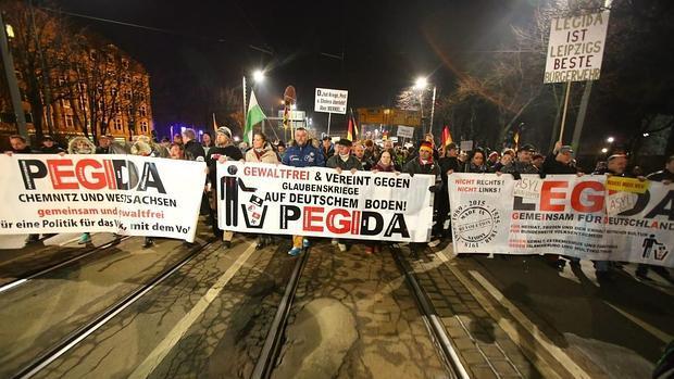 Manifestación del movimiento Pegida en Leipzig