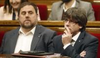 Junqueras y Puigdemont, en el Parlamento catalán.