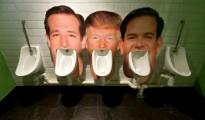 Las caras en cartón de los candidatos republicanos a la presidencia Ted Cruz, Donald Trump y Marco Rubio en un pub de Londres