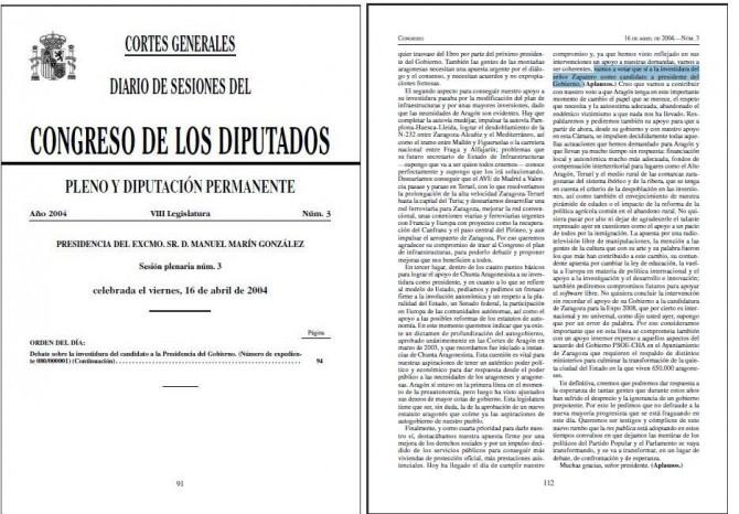"""""""(...) vamos a votar que sí a la investidura del señor Zapatero como candidato a presidente del Gobierno (...)""""."""