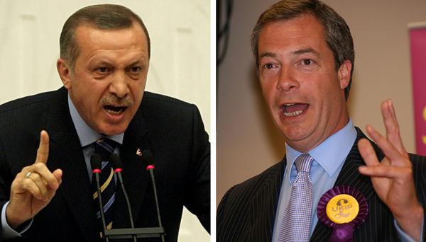 """El presidente de Turquía, Recep Tayyip Erdogan (izquierda), aireadamente dijo en fechas recientes que no obedecería la orden de la Corte Suprema de liberar a dos periodistas que llevaban 92 dias detenidos. Nigel Farage (derecha), líder de un partido de la oposición en el Reino Unido, acusó a Turquía de """"chantajear"""" a la UE a cuenta de la crisis de los refugiados sirios y de su proposición para ser miembro de la Unión."""