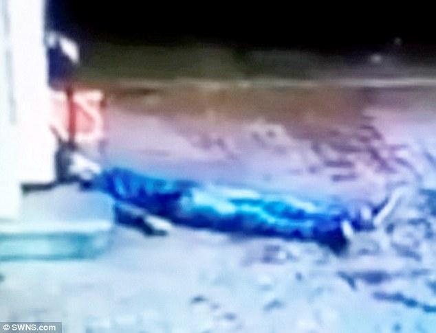 La víctima yace inconsciente en el suelo.